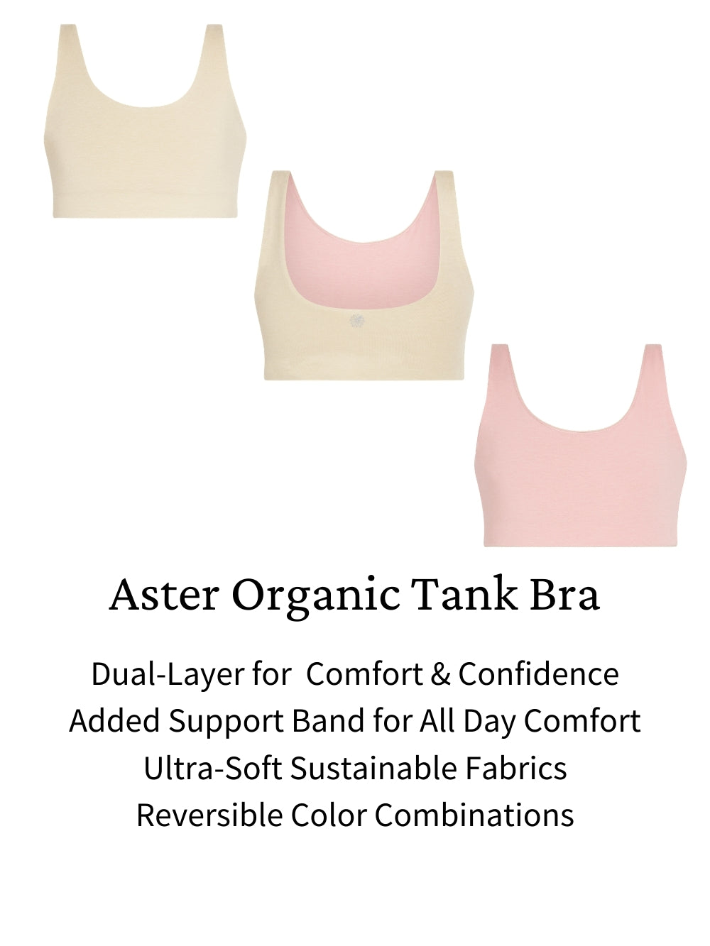 Aster Tank girls organic bras. Sustainably soft support and coverage.