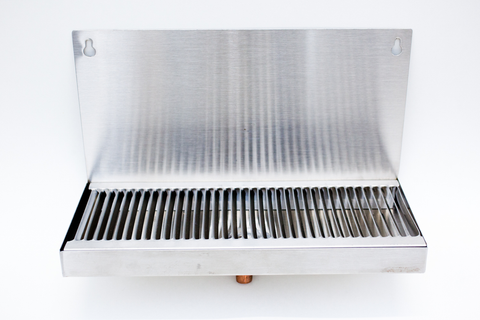 "Wall Mount Stainless Steel Drip Tray - 12"" x 5"" with 5/8"" OD Drain Tube"