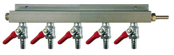 "5-Way CO2 Distributor with 3/8"" Barbed Shut-offs (With Check Valves)"