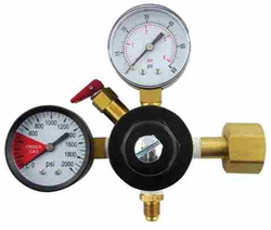 "CO2 Regulator with 1/4"" MFL Check Valve (1-60psi Gauge and 1-2000psi Gauge)"
