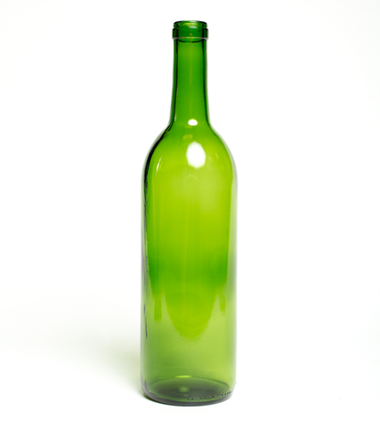 750ml Champagne Green Optima Bordeaux Flat Bottom Wine Bottles - 12/Case