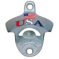 "Stationary Bottle Opener - ""USA W/ FLAG"""