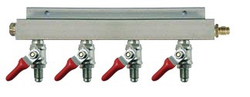 "4-Way CO2 Distributor w/ 5/16"" Barbed Shut-Offs (With Check Valves)"
