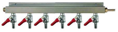 "6-Way CO2 Distributor with 3/8"" Barbed Shut-offs (With Check Valves)"