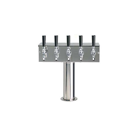 """T"" Tower - Glycol Cooled - Stainless, 3"" OD Round x 15"" Wide - 5 Faucet (Chromed Brass)"