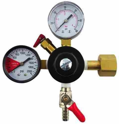 "CO2 Regulator with 1/4"" Barbed Shut off (1-60psi Gauge and 1-2000psi Gauge)"