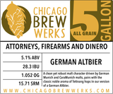 CBW Attorneys, Firearms and Dinero - 5 Gallon All Grain Ingredient Kit
