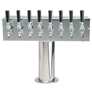 """T"" Tower - Air Cooled - Stainless, 3"" OD Round x 19"" Wide - 8 Faucet (Chromed Brass)"