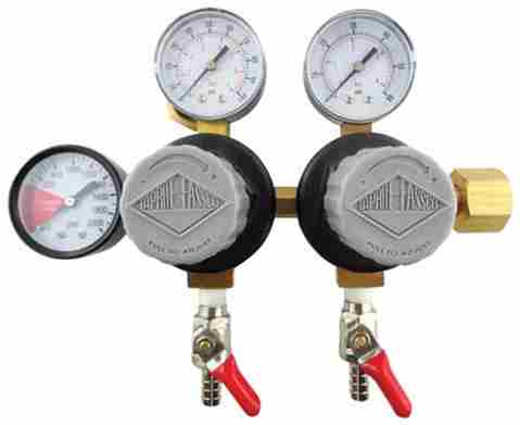 "Taprite Double CO2 Regulator with 5/16"" Barbed Shutoffs (2-60psi Gauges and 1-2000psi Gauge)"