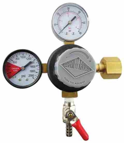 "Taprite CO2 Regulator with 5/16"" Barbed Shutoffs (1-60psi Gauge and 1-2000psi Gauge)"