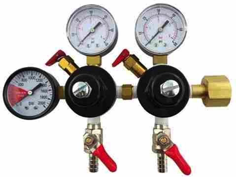 "Double CO2 Regulator with 1/4"" Barbed Shutoffs (2-60psi Gauges and 1-2000psi Gauge)"