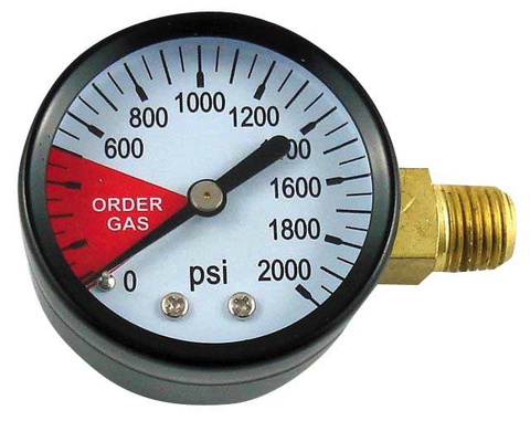 "2"" Replacement Gauge for Regulator - Right Hand Thread 0-2000 PSI"