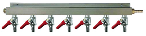 "7-Way CO2 Distributor with 3/8"" Barbed Shut-offs (With Check Valves)"