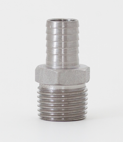 "Stainless Steel Hose Stem - 1/2"" Barbed X 1/2"" MPT"