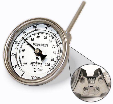 "Brewer's Best Adjustable Kettle Thermometer - 3"" Dial & 4"" Probe"