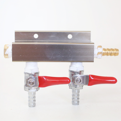 "2-Way CO2 Distributor with 3/8"" Barbed Shutoffs (With Check Valves)"