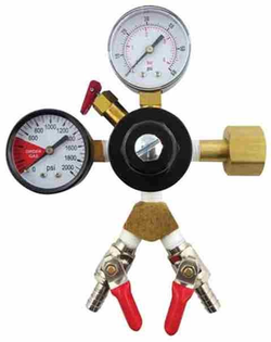 "CO2 Regulator with Double 5/16"" Barbed Shutoffs (1-60psi Gauge and 1-2000psi Gauge)"