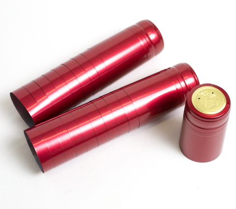 Metallic Solid Ruby red PVC Shrink Capsules 30/bag