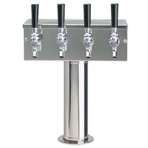 """T"" Tower - Glycol Cooled - Stainless, 3"" OD Round x 12"" Wide - 4 Faucet (Chromed Brass)"