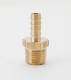 "Brass Hose Stem - 3/8"" Barbed X 1/2"" MPT"