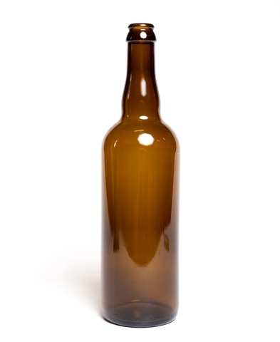 750mL Amber Belgian Beer Bottles (12/case) - Crown/Cork Finish
