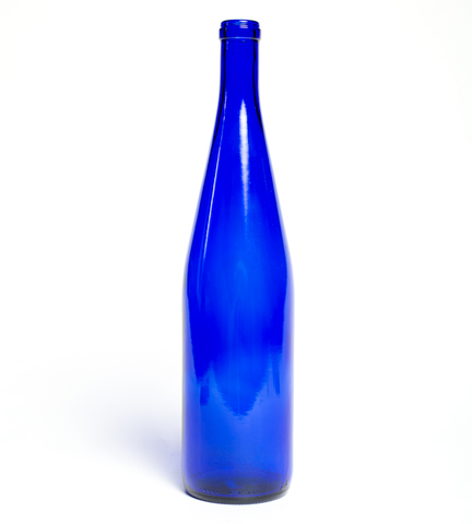 750ml Classic Cobalt Blue Hock Wine Bottles - 12/Case