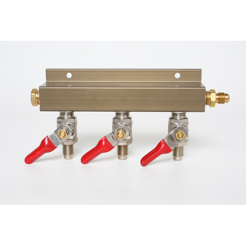 "3-Way CO2 Distributor with 1/4"" MFL Shutoffs (With Check Valves)"