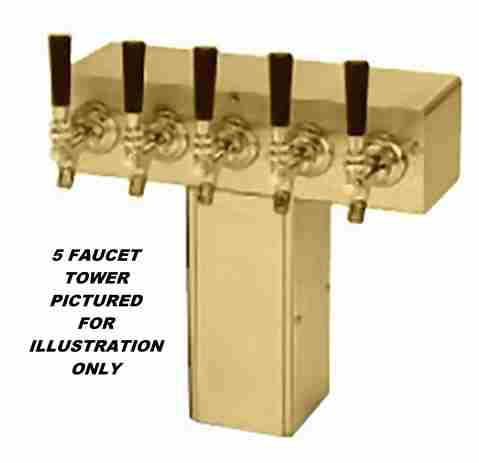 """T"" Tower - Glycol Cooled - PVD Brass, 4"" Square x 14-3/4"" Wide - 5 Faucet (Stainless)"