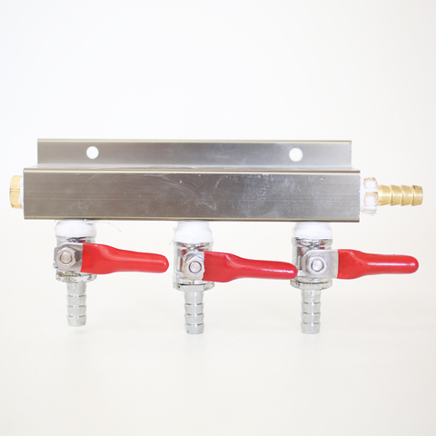 "3-Way CO2 Distributor with 3/8"" Barbed Shut-offs (With Check Valves)"