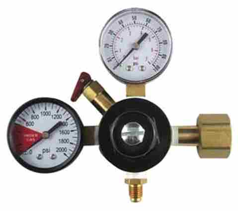 "CO2 Regulator with 1/4"" MFL Out (1-100psi Gauge and 1-2000psi Gauge)"
