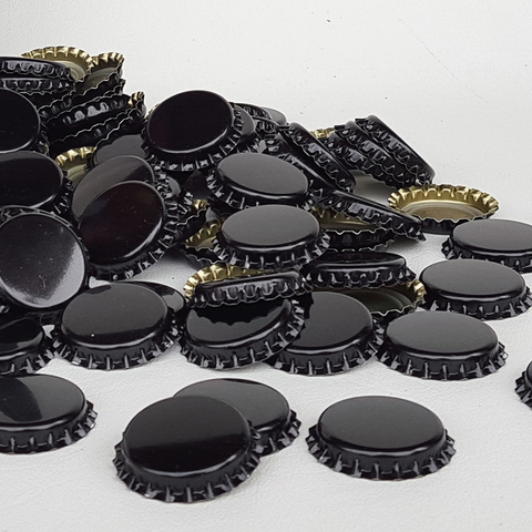 Bottle Crown Caps - Black Oxygen Absorbing - 1 Gross (Approx 144 Caps)