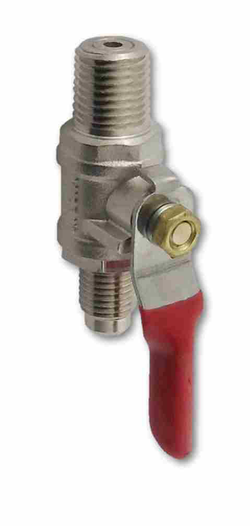 "CO2 Ball Valve - 1/4"" MPT x 1/4"" MFL W/ Check Valve"