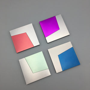David Tisdale c. 1980s Muti-Colored Postmodern Anodized Aluminum Coasters