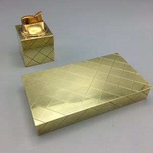 Brass Box and Cube Lighter by Tommi Parzinger for Dorlyn c. 1950