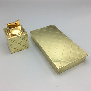 Rare Tommi Parzinger for Dorlyn c. 1950 Brass Diamond Box and Cube Lighter