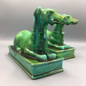 Signed Mancioli Italy c. 1960 Pair Malachite Green Ceramic Guard Dog On Plinth