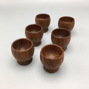 Kay Bojesen Set of Six Mid Century Modern Teak Egg Cups (6)