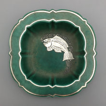 Gustavsberg Argenta c. 1930 Art Deco Stoneware Catch-all Bowl with Sterling Fish Relief