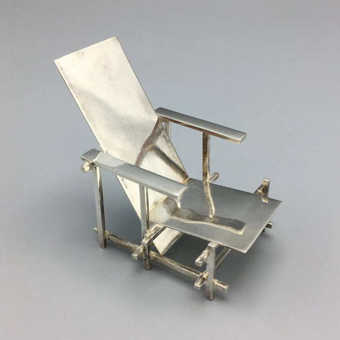 Sterling Silver Gerrit Thomas Rietveld 'Red and Blue' Miniature De Stijl Chair for Acme Studios