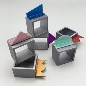 David Tisdale c. 1980s Multi-Colored Postmodern Anodized Aluminum Napkin Rings