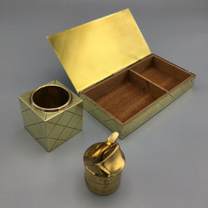 Tommi Parzinger Brass Box and Cube Lighter  for Dorlyn c. 1950