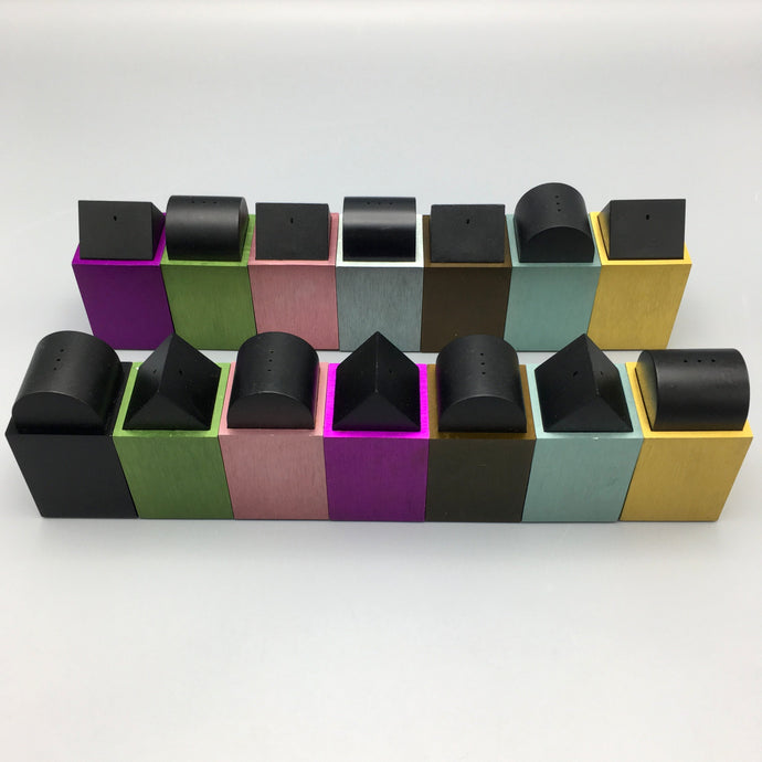 David Tisdale c. 1980s Multi-Colored Postmodern Anodized Aluminum Salt & Pepper Shakers