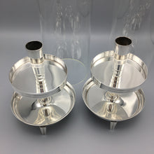 Tommi Parzinger c. 1950 Pair of Silver Footed Hurricane Candle Holder Lamps