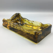 Luciano Gaspari for Salviati Large Biomorphic Free-form Amber Glass Tray Bowl