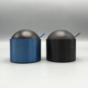 David Tisdale c. 1980s Multi-Colored Postmodern Anodized Aluminum Sugar Bowl & Spoon