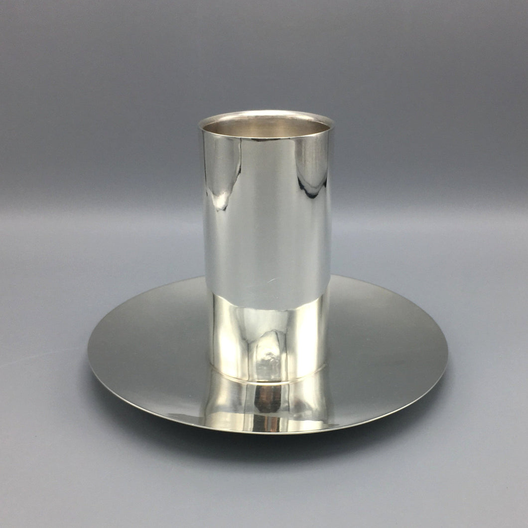 Massive Sterling Silver Alfredo Ortega c. 1930 Art Deco Pillar Candle Holder (2 available)