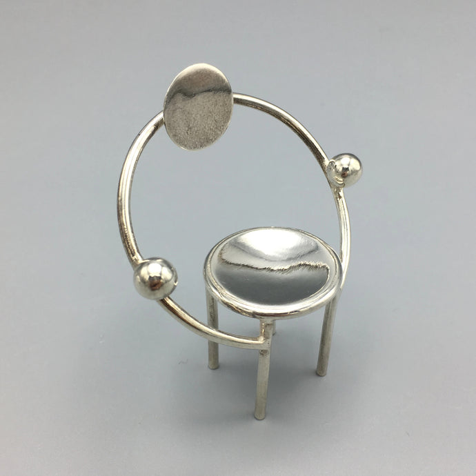 Sterling Silver Michele de Lucchi 'First' Miniature Postmodern Chair for Acme Studios