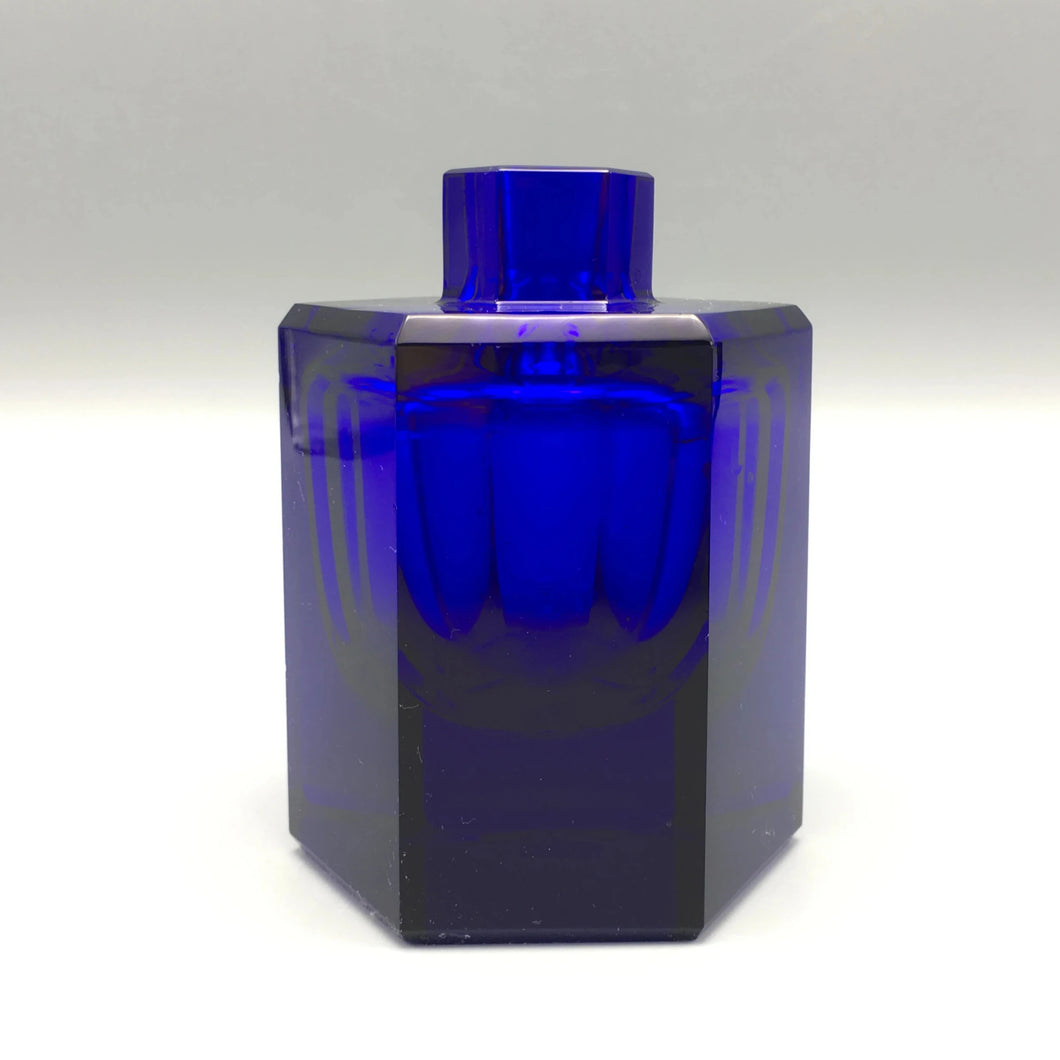 Leo Moser c. 1920 Deep Cobalt Blue Geometric Crystal Glass Bud Vase