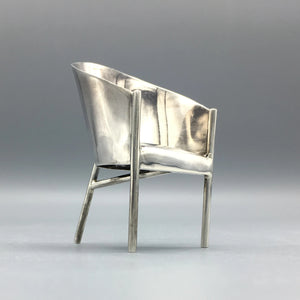 Sterling Silver Philippe Starck 'Costes' Miniature Minimalist Chair for Acme Studios