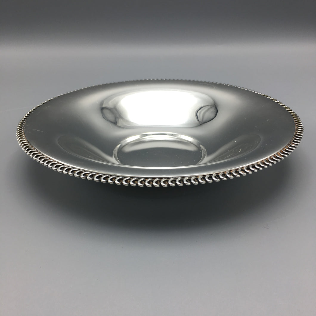 Philippe Wolfers Freres Art Deco Solid Silver Bowl with Chain Detail